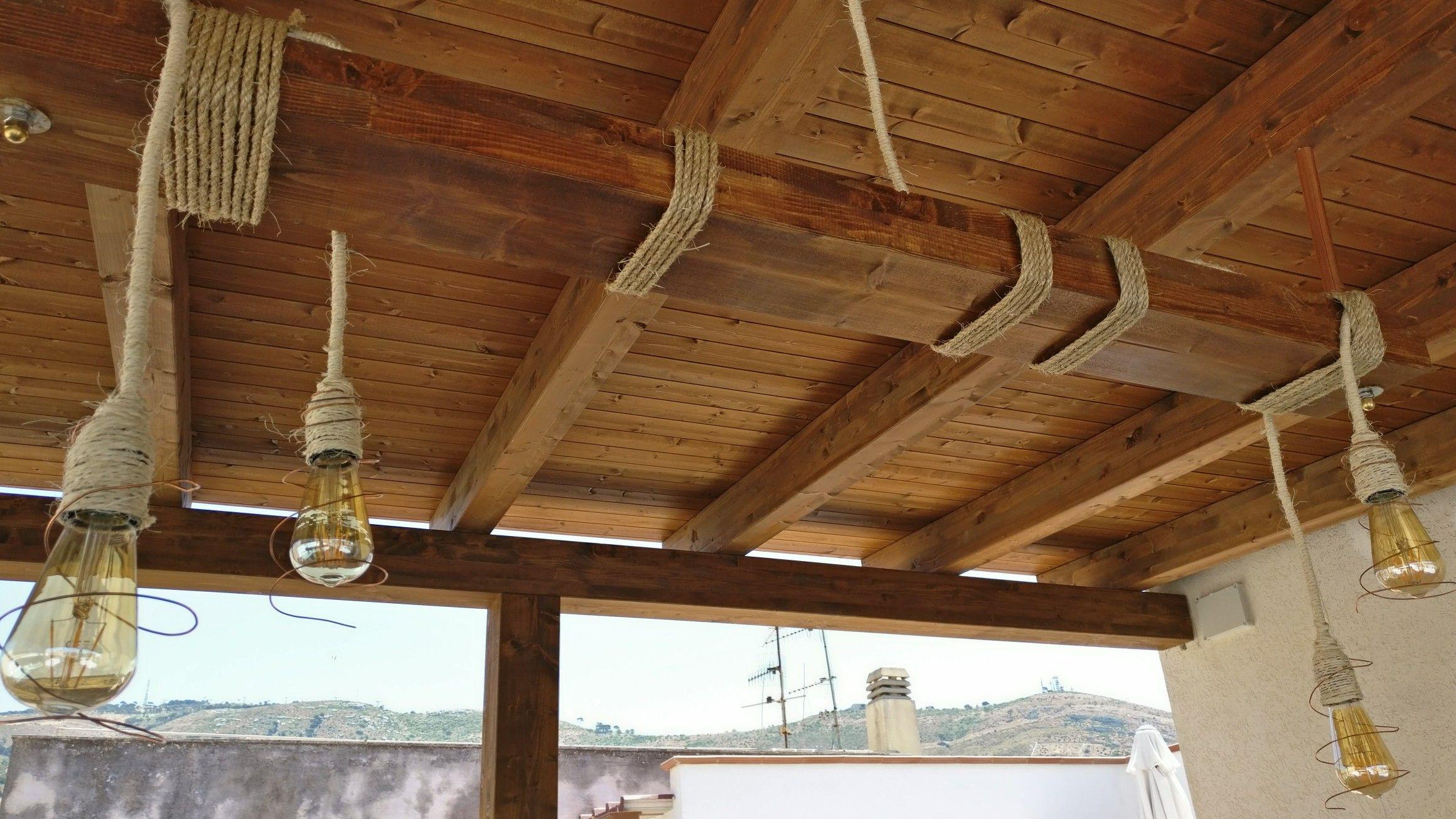 Lampade Rustiche In Rame : Lampada con spago e corda di juta tubi e filo in rame illuminazione
