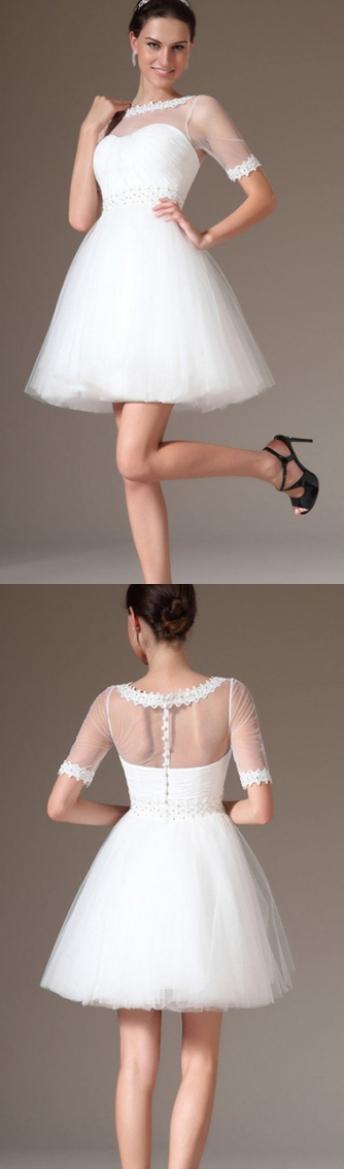 Short Mini Wedding Dresses White Elegant Sleeves Lace Beading Beach Wf01g44