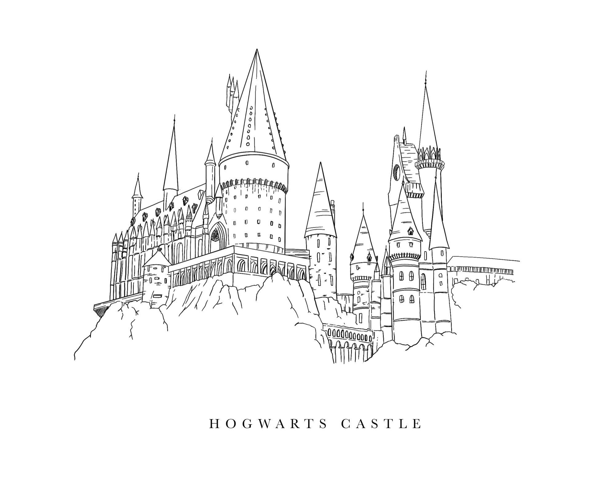 Hogwarts Castle Illustration Harry Potter In 2020 Harry Potter Castle Tattoo Hogwarts Castle Tattoo Harry Potter Coloring Pages