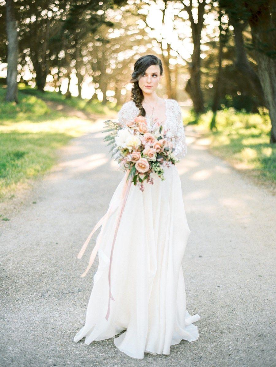 Stunning mauve and gold outdoor wedding inspiration shoot dress