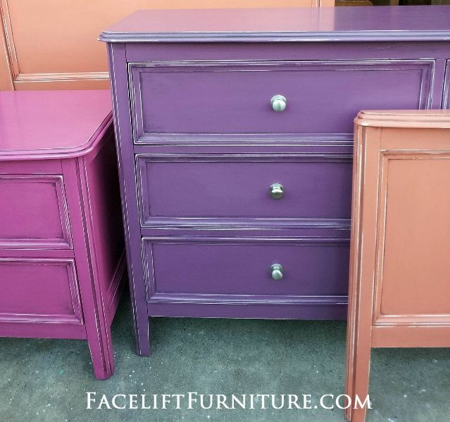 bedroom set custom painted purple, pink, and orange over original