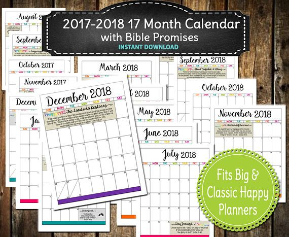 2017-2018 Monthly Calendar PRINTABLE \/ Bible Promises \/ Mambi - monthly calendar