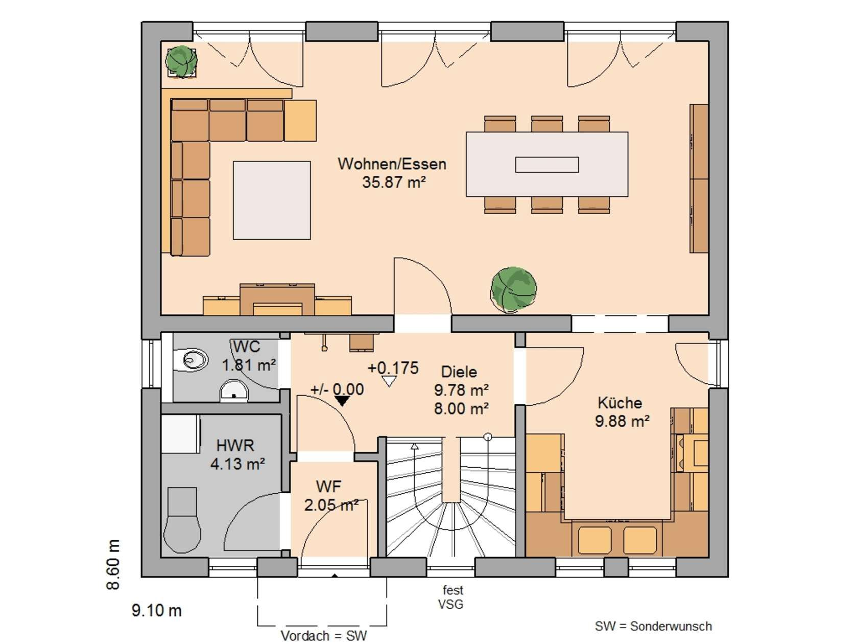 Hausbeispiele grundrisse  Kern-Haus Familienhaus Vision Grundriss Erdgeschoss | Endauswahl ...