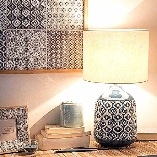 Lampe En Ceramique Bleue Abat Jour Ecru Caixo In 2020 Ceramic Lamp Blue Ceramic Lamp Lamp