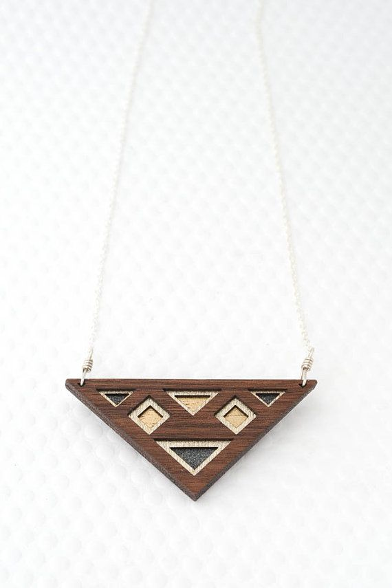 Luxe Layered Triangular Necklace in Silver · Graphite · Bronze | Geometric Layered Walnut Wood
