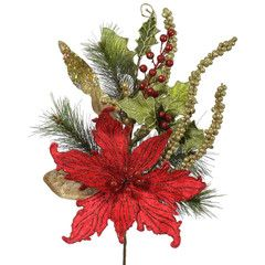 Christmas Decoration- #Red Poinsettia Pine Spray, #showmedecorating