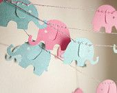 Elephant Garland - Baby Shower Garland - Baby Room Decoration -  Paper Garland - Baby Pink Elephants. $10.50, via Etsy.