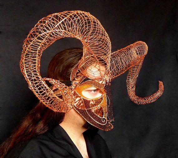 Ram mask halloween mens handmade by gringrimaceandsqueak on Etsy, $1200.00