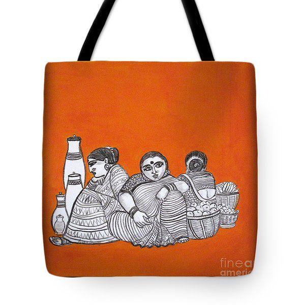 Women Vendors In Market Tote Bag by Asha Sudhaker Shenoy