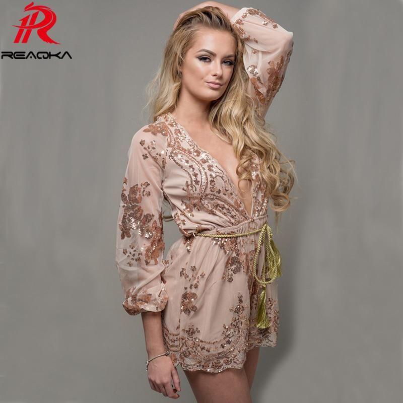 e09bc9b40e3a Summer Sexy V Neck Mesh Long Sleeve Sequins Bodysuit Women Jumpsuit Gold Black  Rompers Luxury Nightclub Party Playsuit Overalls.