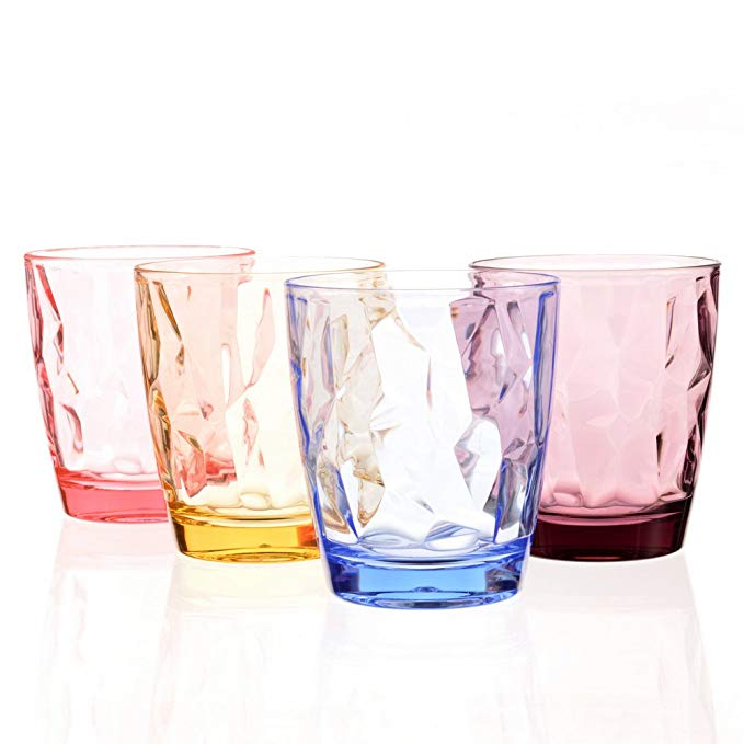 Amazon Com Acrylic Drinking Glasses Set Colored Plastic Tumblers Unbreakable Small Water Drinking Cups F Acrylic Drinking Glasses Acrylic Glassware Glassware