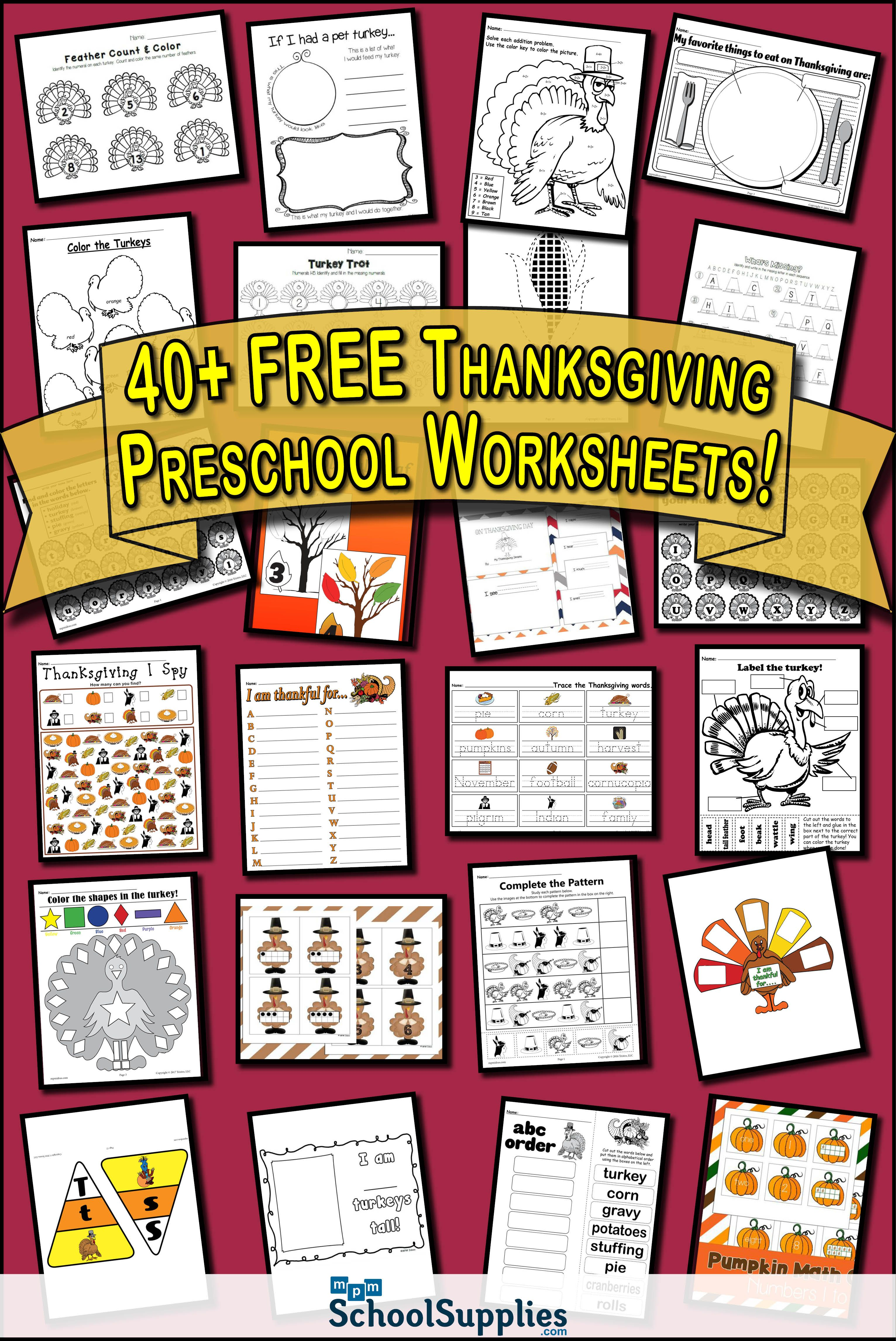 40 Free Thanksgiving Preschool Worksheets Our