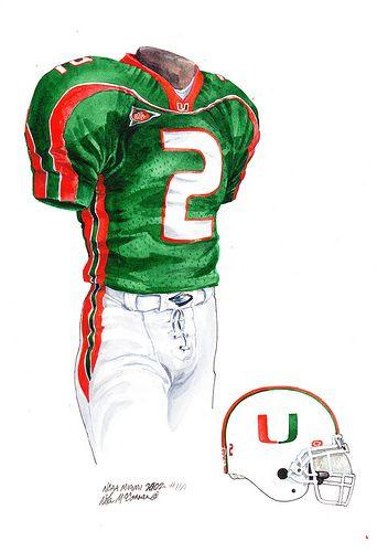2002 Miami football uniform sketch  31f476dc1