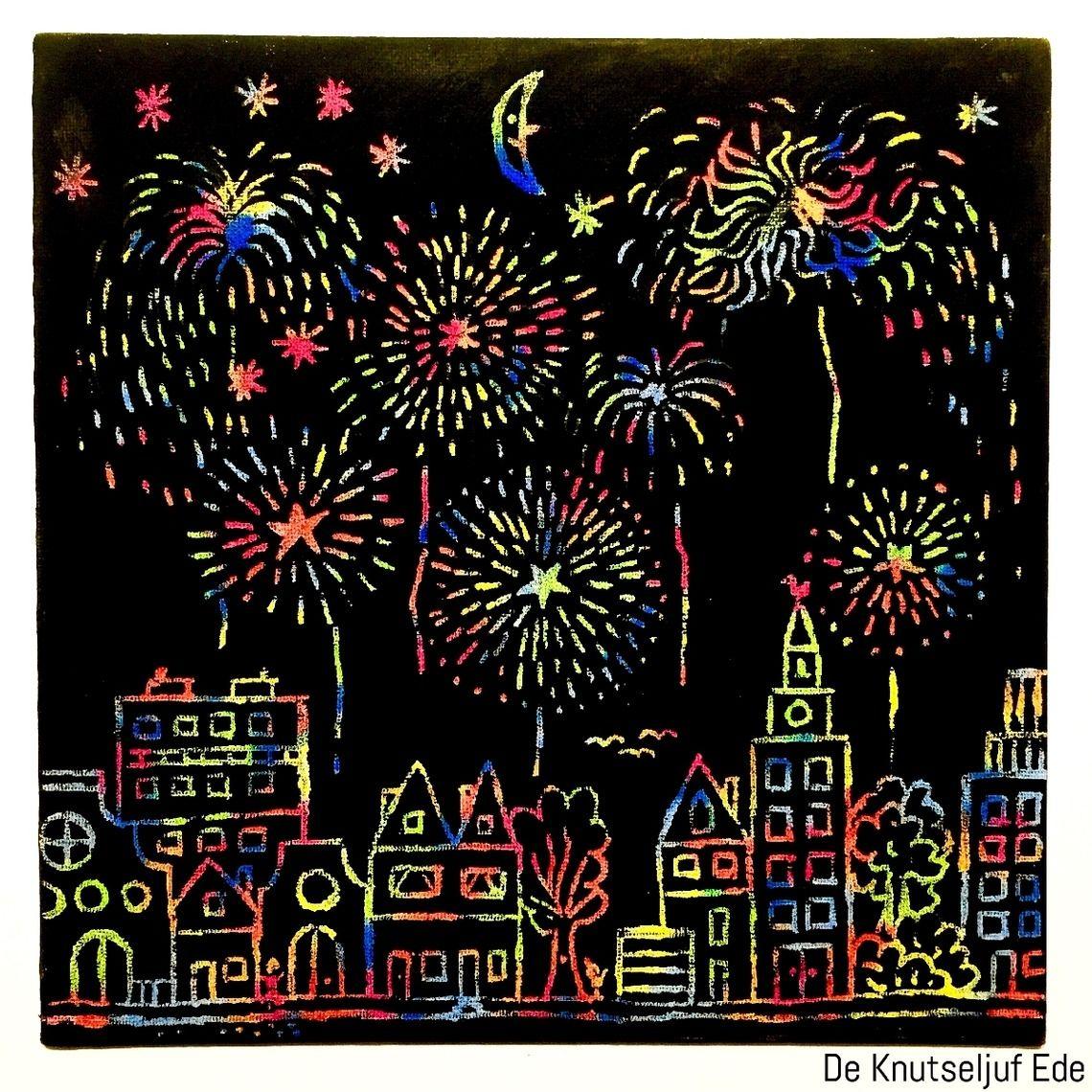 Oud En Nieuw Vuurwerk Met Waskrijtjes Gelukkig Nieuwjaar Vuurwerk Knutselen Waskrijtjes Zwarte Verf Vuurwerk Knutselen Vuurwerk Nieuwjaarsknutsels