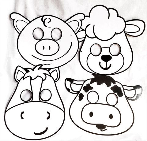 Farm Animal Masks: DIY Color Your Own. Sld in set of 4