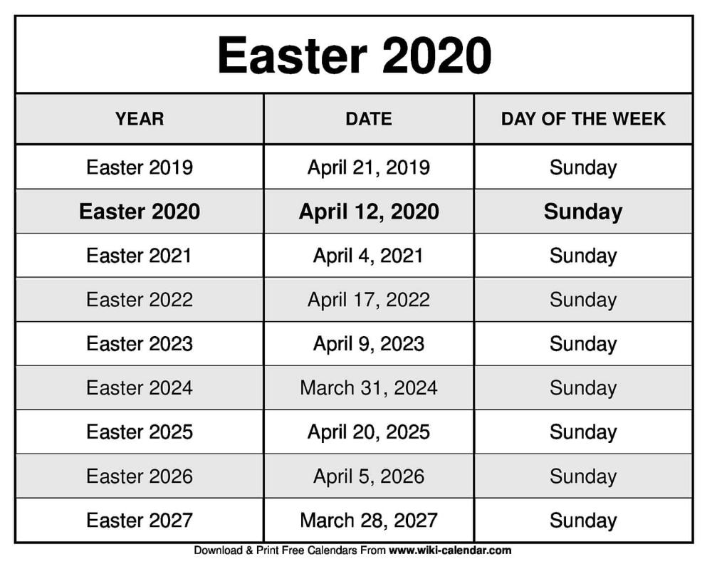 Easter 2020 Calendar Calendar Printables 2020 Calendar Template Calendar