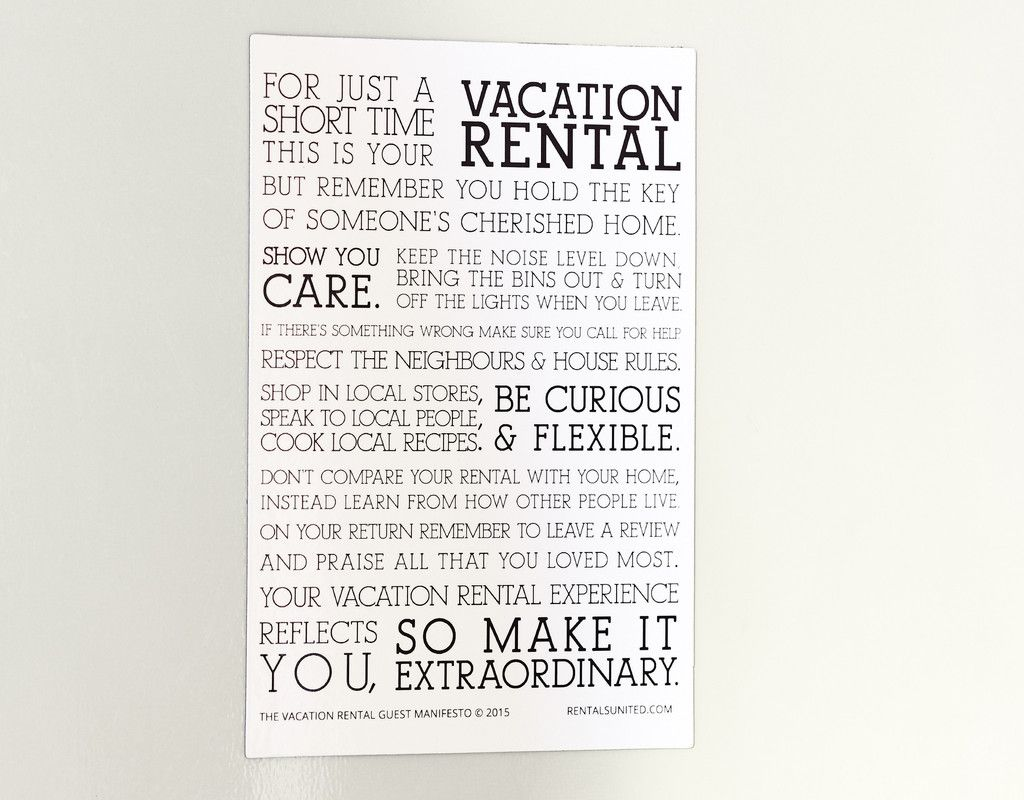 Vacation Rental Manifesto Magnet Rental Airbnb House Rules Manifesto