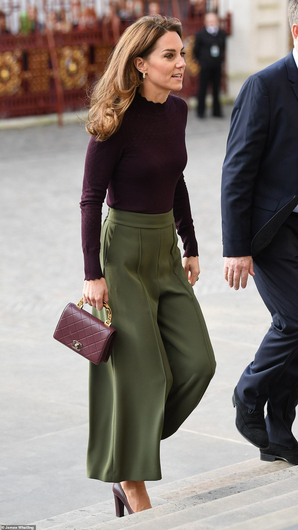 Designer Duchess! Kate Middleton teams her £3K Chanel bag with high street culottes from Jigsaw | Daily Mail Online