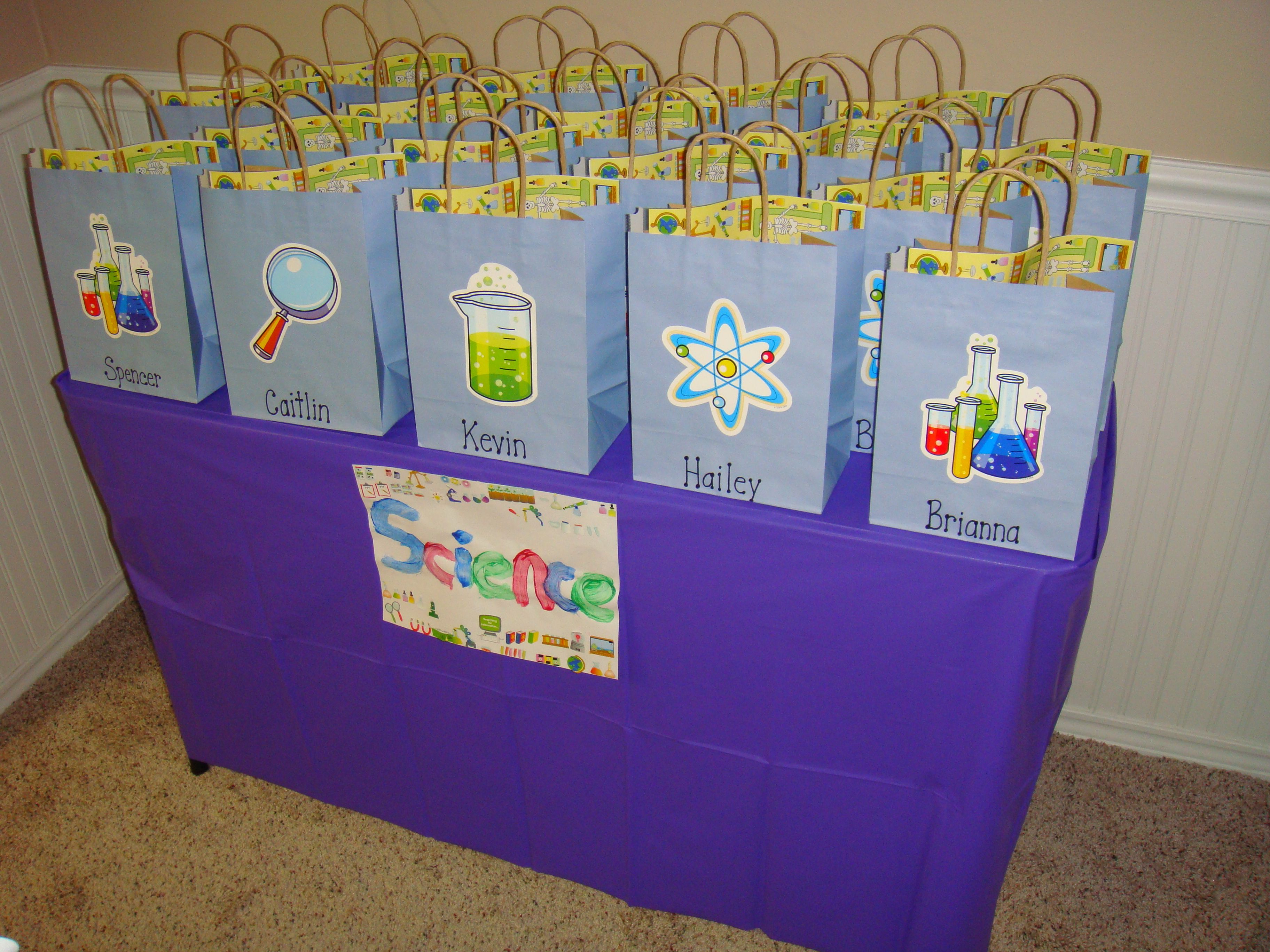 Party Favor Bags Inside The Kids Found Lab Coats A Beaker Name Tag Activity And Test Tubes