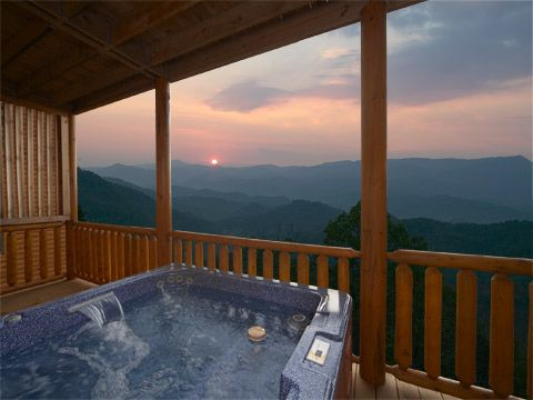 Pigeon Forge TN high up in the Smoky Mountains and log cabins