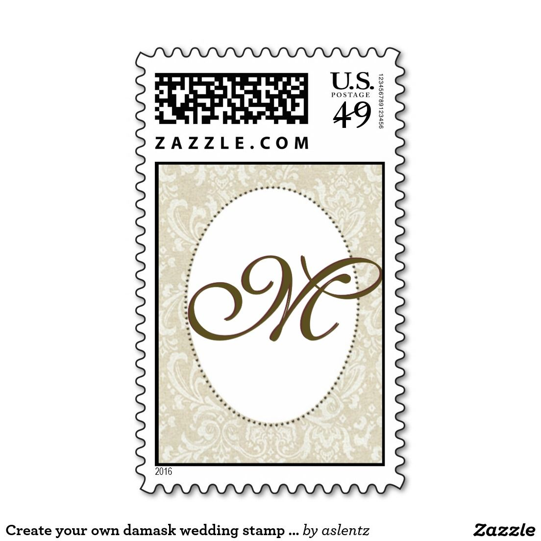 Create Your Own Damask Wedding Stamp