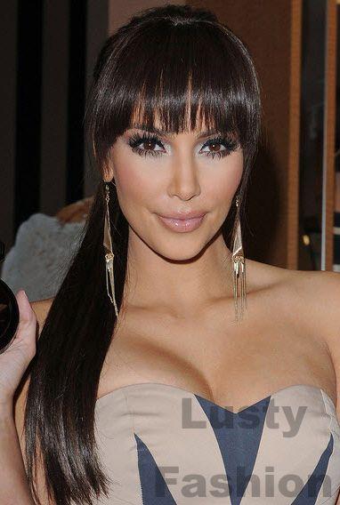 Kim Kardashian Straight Fringes Hairstyle