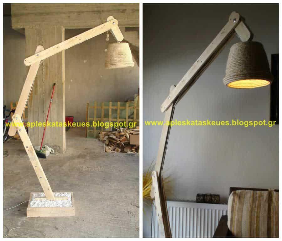 Pallet Floor Lamp By Alex 1001 Pallets In 2020 Pallet Floors Wooden Floor Lamps Pallet Light