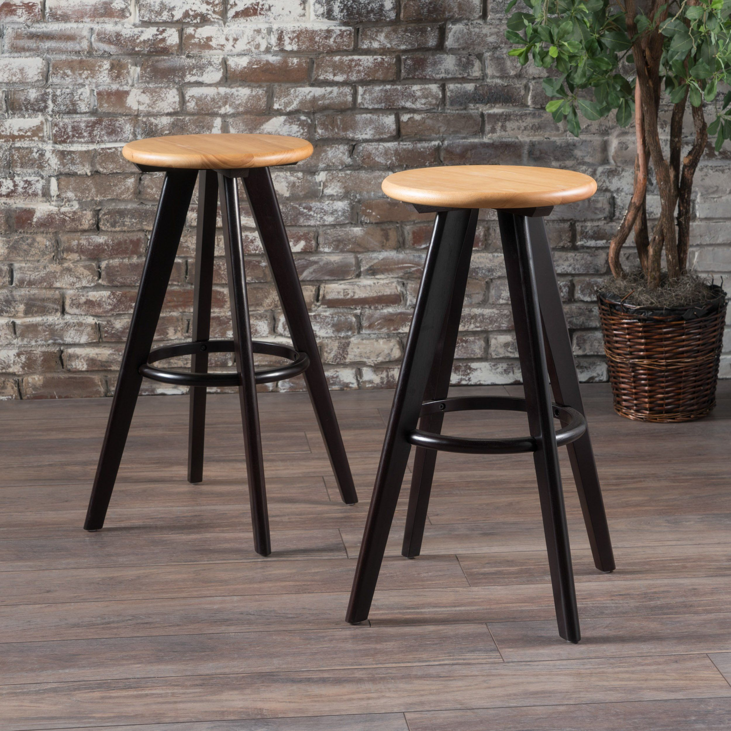 Fine Byre 30 Inch Traditional Wood Finished Bar Stools Set Of 2 Theyellowbook Wood Chair Design Ideas Theyellowbookinfo