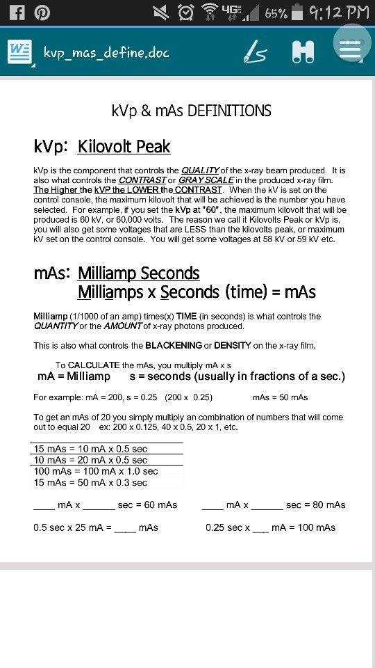 Kvp And Mas Radiology Technologist Radiology Schools Radiology Tech