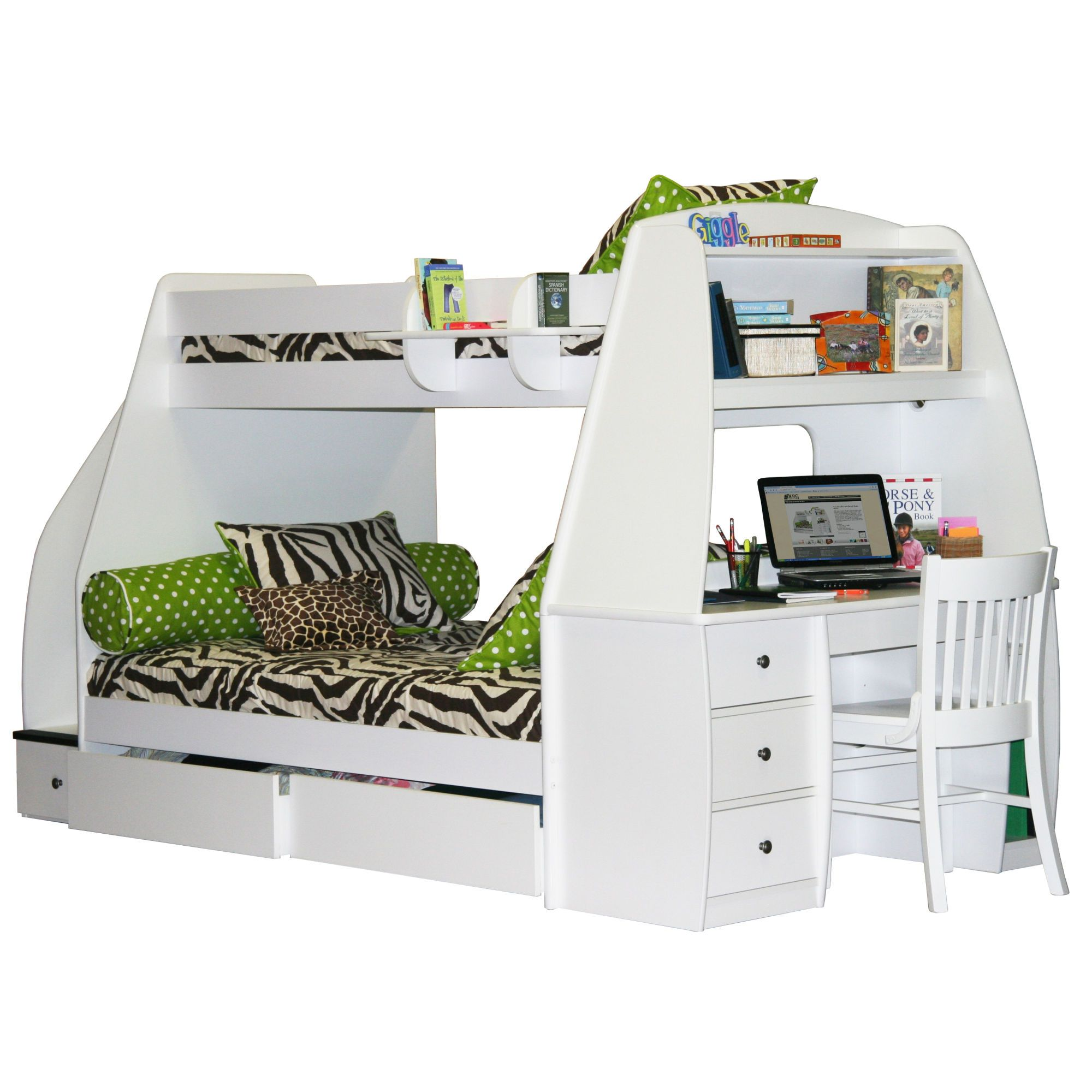 Loft bed with desk girls  Bed for the girls hopefully next year Love that the stairs are