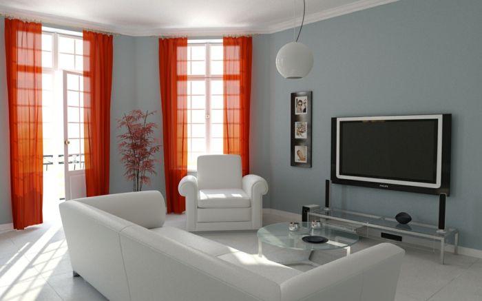 kleines wohnzimmer einrichten weiße möbel glastisch kommode orange - wohnzimmer ideen vorhange