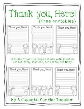 Free Printable Writing Paper To Thank Military Members You Hero Great For Veterans Day