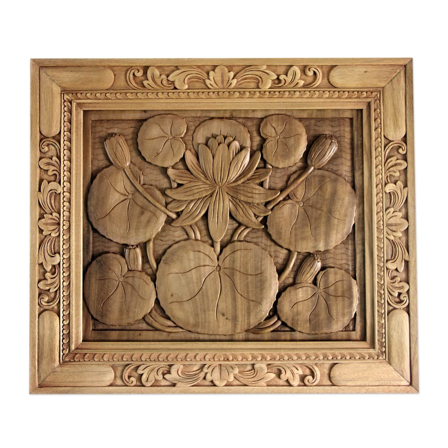 Novica wood relief panel ulotus blossomu products pinterest