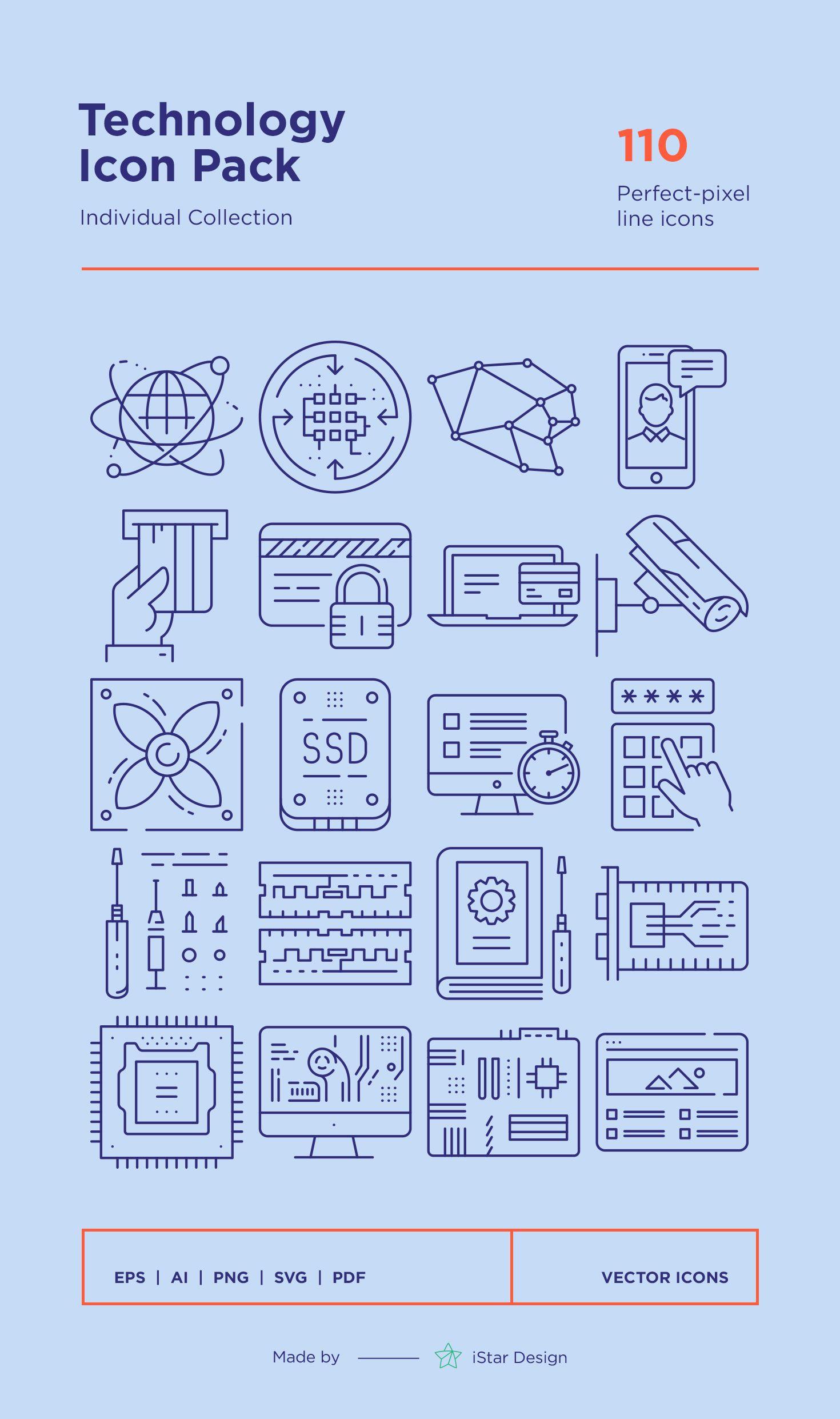 Technology Icons Set Technology icon, Icon set, Computer