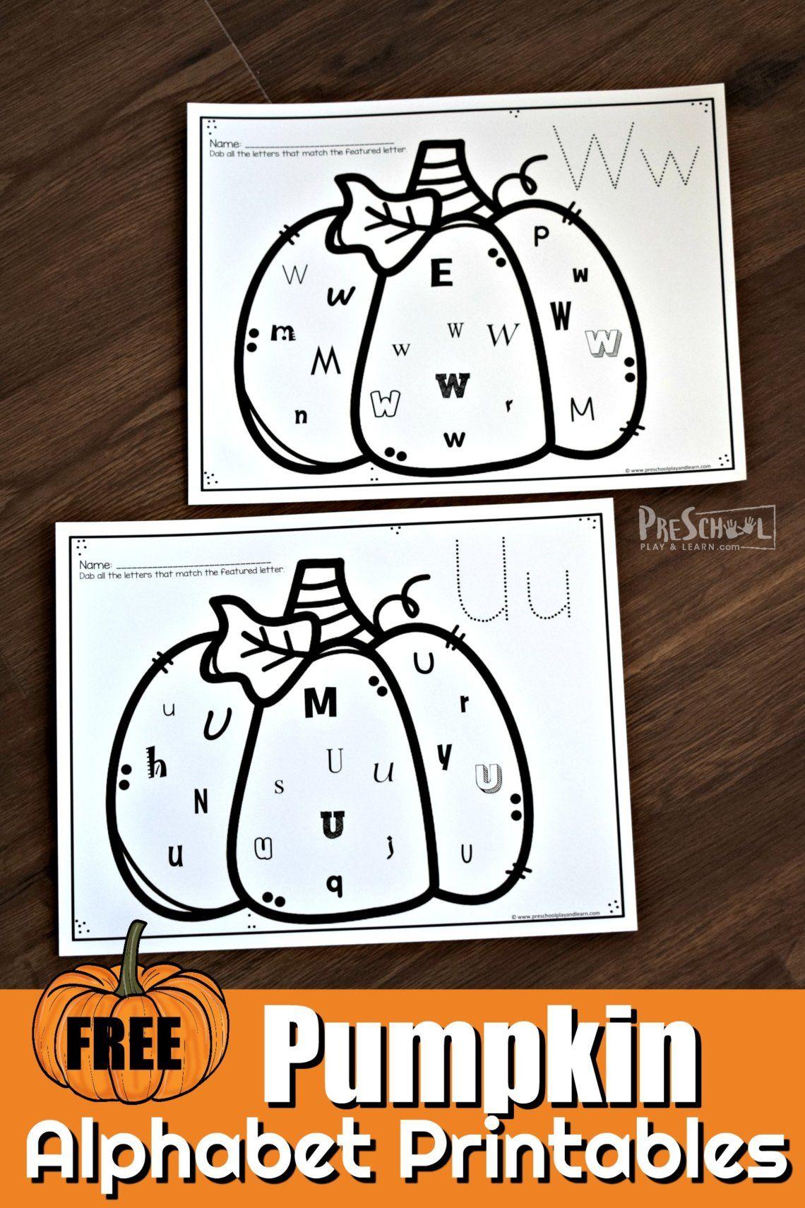 Free Pumpkin Alphabet Printables