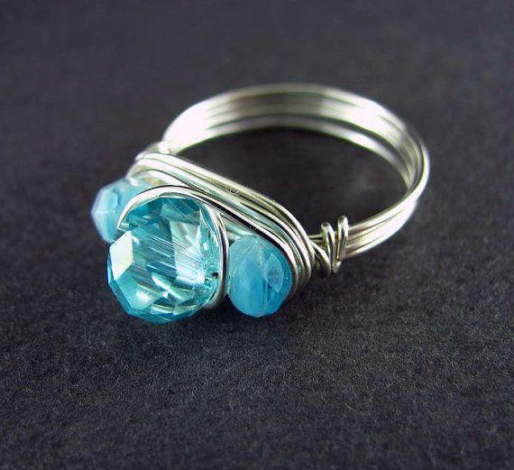Wire Wrap Ring Custom Ring Wire Jewelry Topaz by PolymerPlayin, $13.00