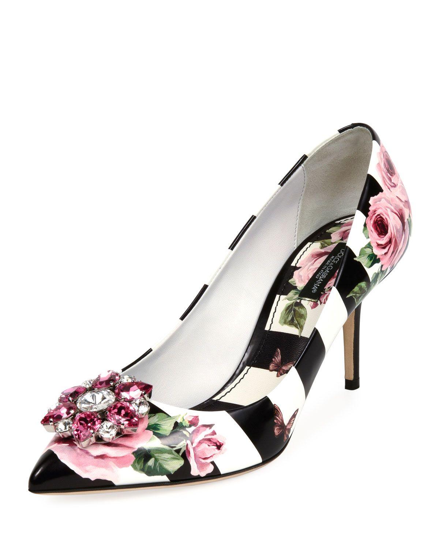Dolce   Gabbana Striped Rose-Print Leather Pump  80d1a204b902f