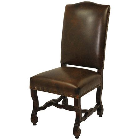I pinned this Notte Leather Side Chair . I think this would work well with the rustic design of a chateau or medieval cathedral style room