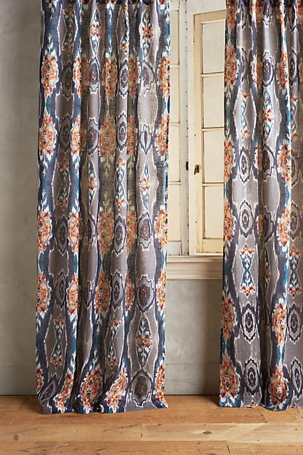 Stretched Ikat Curtain Ikat Curtains Home Curtains Curtains
