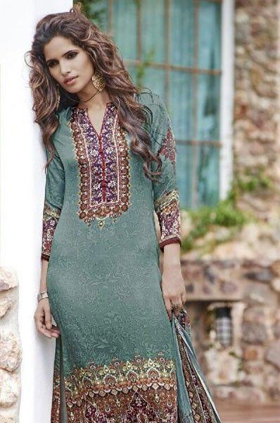 84b48ddf2c Embroidered Party Wear Digital Print Salwar Kameez | Straight Cut ...