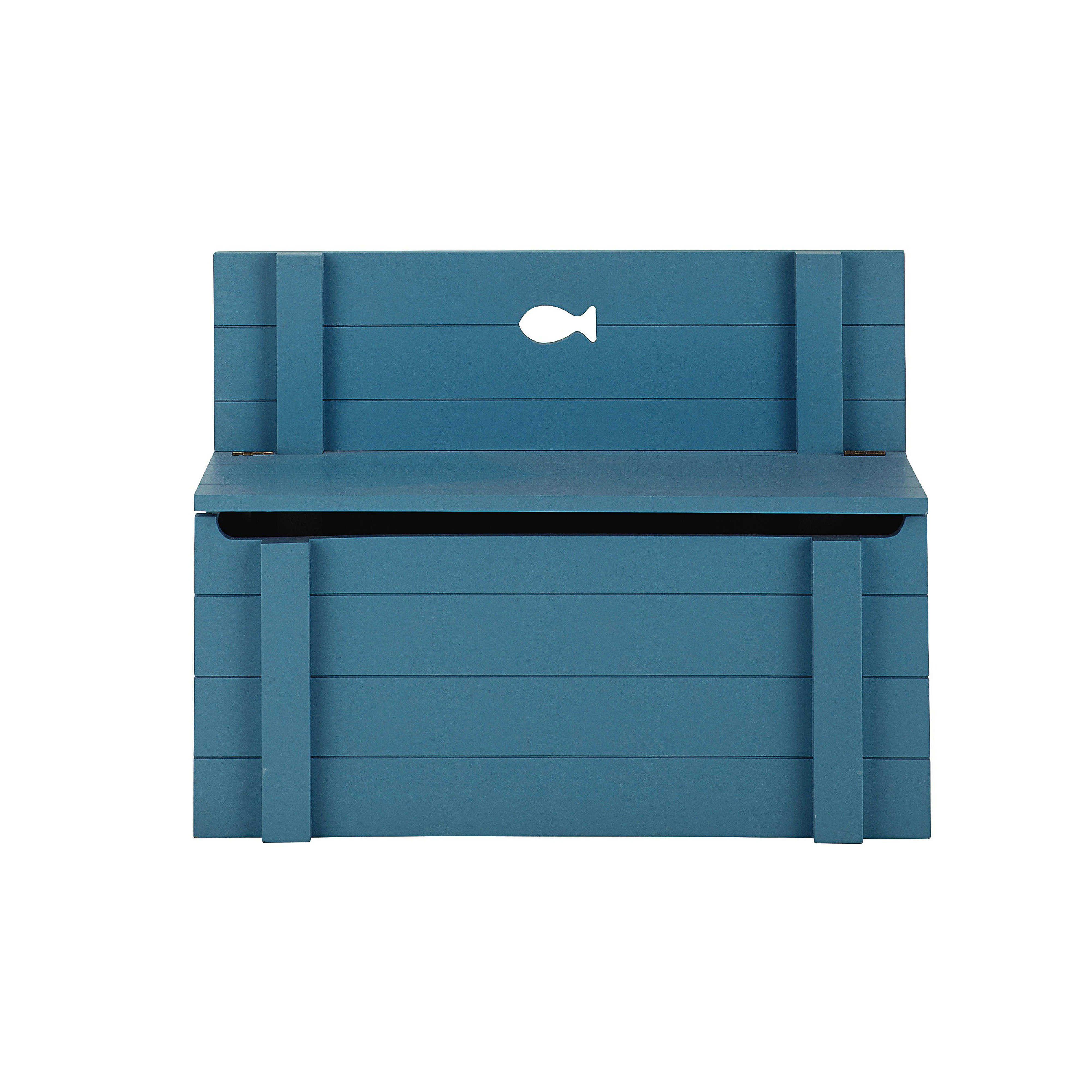 Banc coffre  jouets en bois bleu L 70 cm Marin