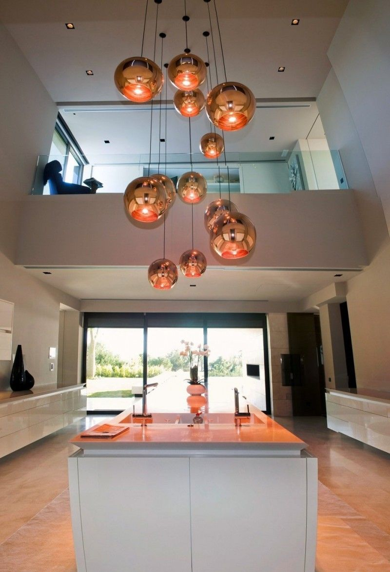 contemporary indoor lighting. Hanging Ball Lighting At Modern Familiar House In Marbella By A-cero, Photo Contemporary Indoor .