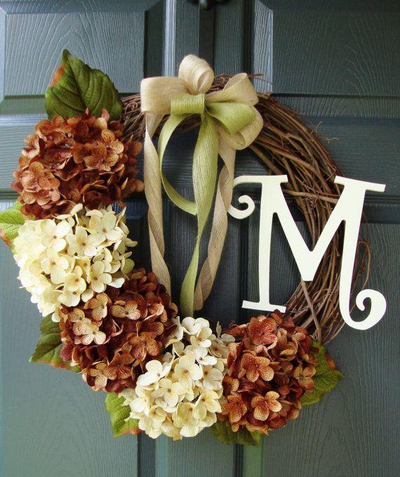 Hydrangea Wreath Door Monogram Personalized Wreath Front Door