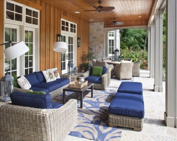 Contemporary Blue Outdoor Patio Cushion Design