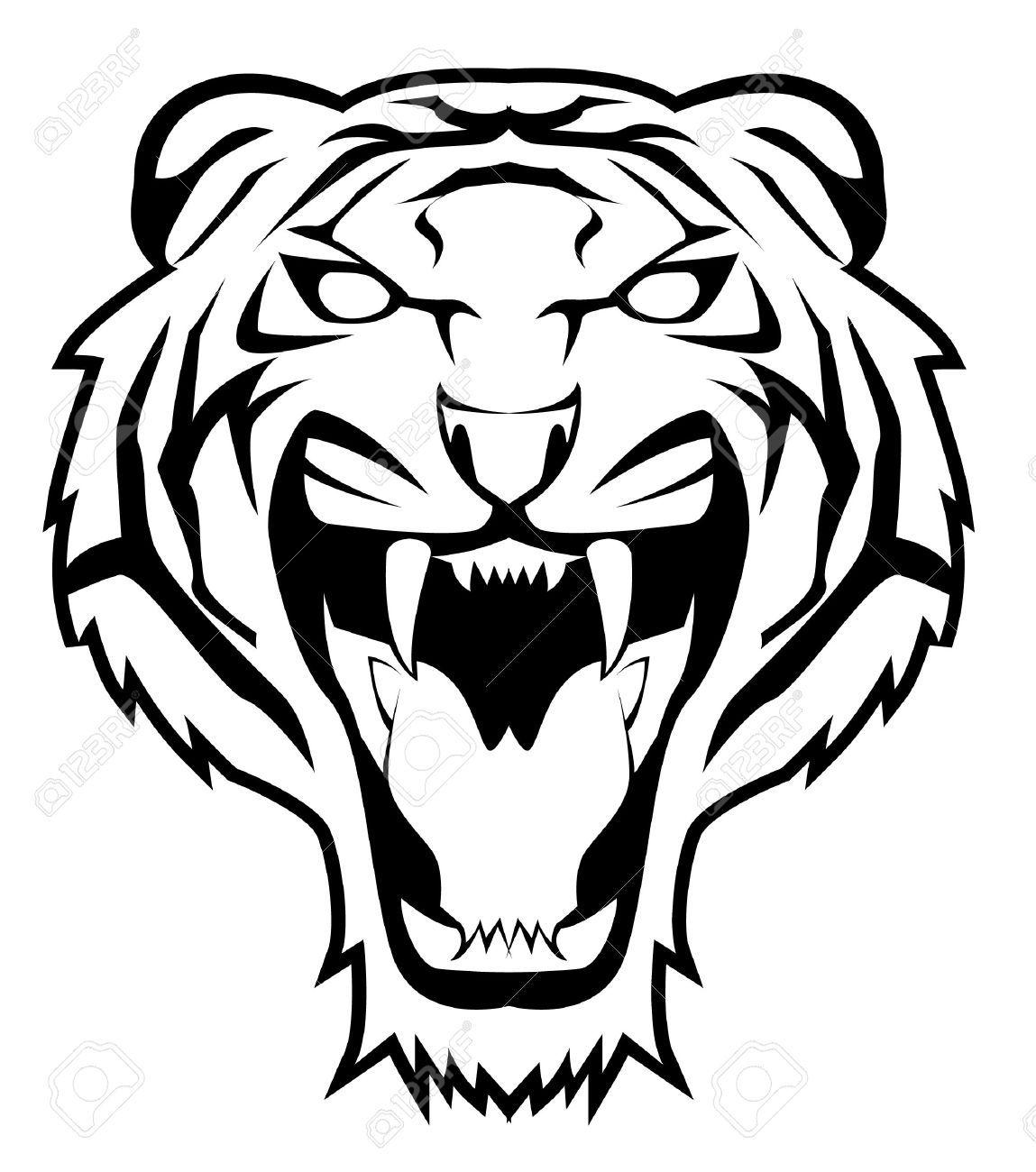 Tiger Face Tiger Face Tiger Stencil Illustration Design Poster