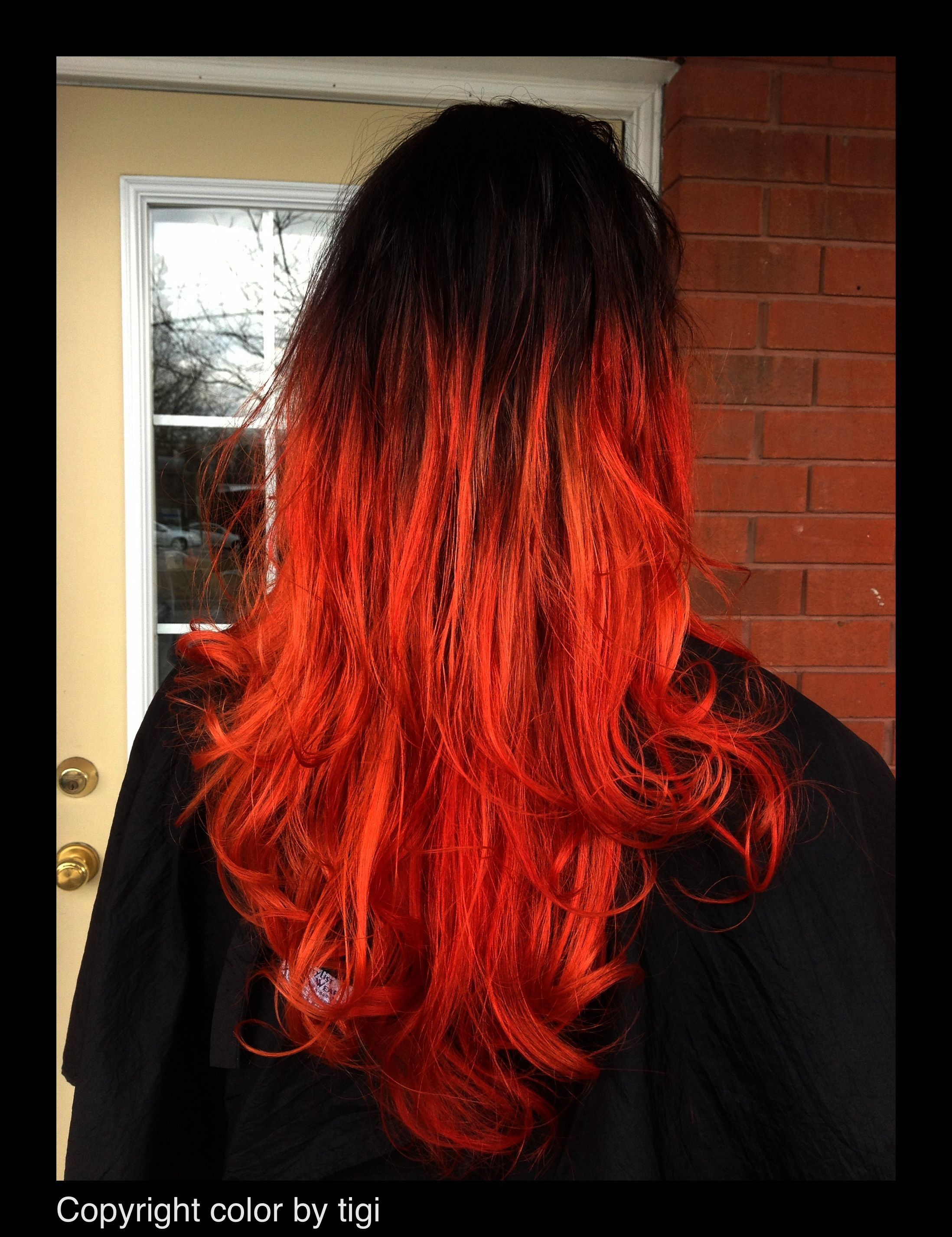 Fire Engine Red Hair Tigi Copyright Color Styled With Bumble And