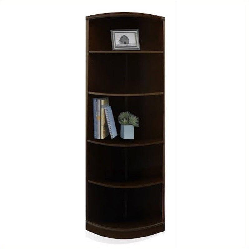 Bookcase Bookshelf Furniture 5 Shelf Quarter Round Wall In
