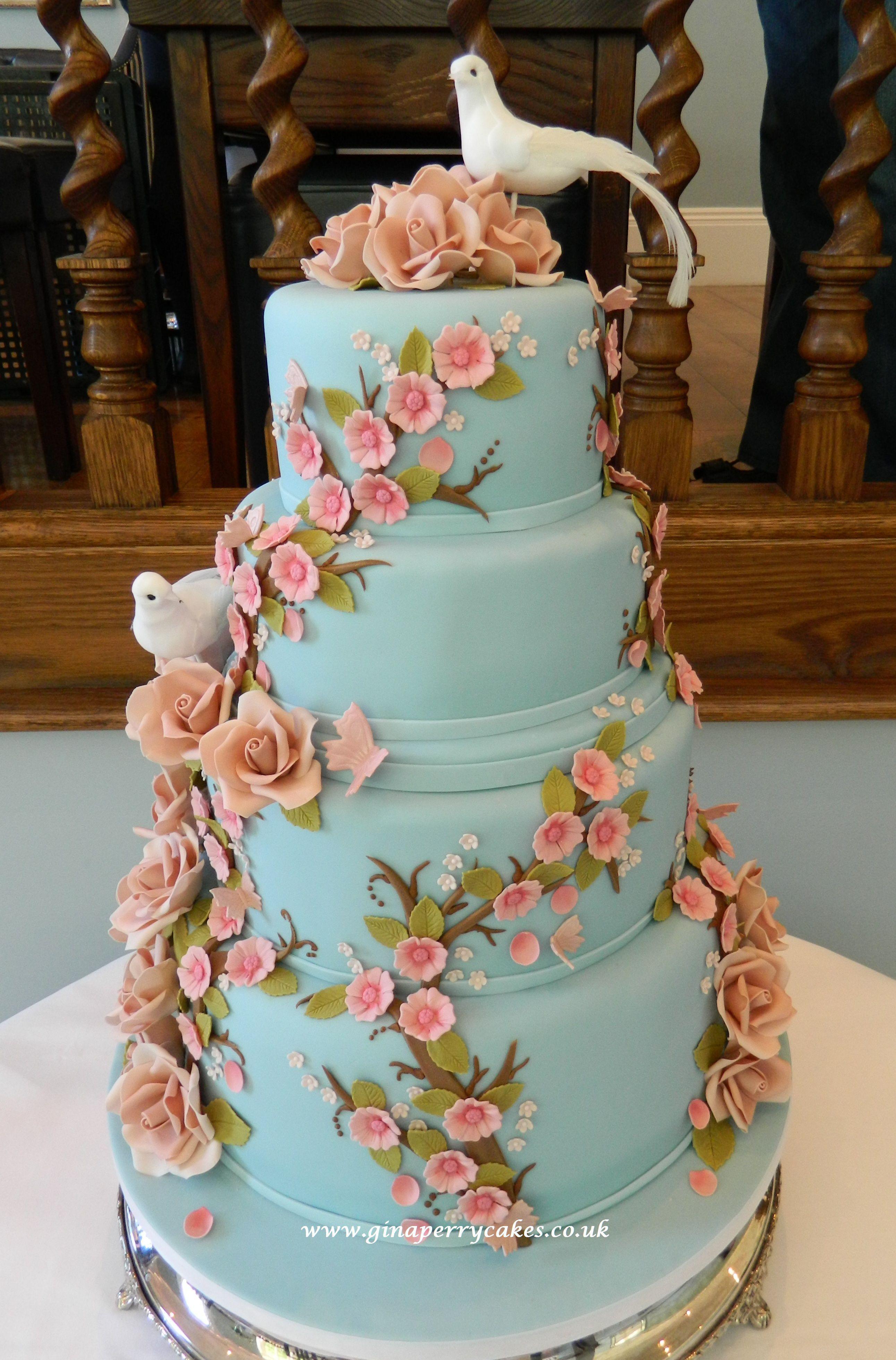 Eternal love blue pink wedding cake gluten free