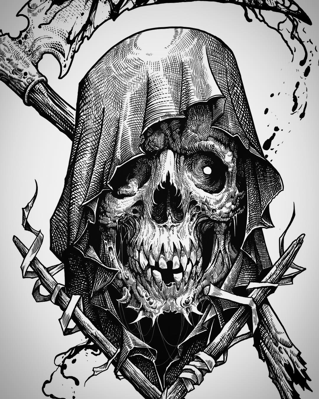 Grim Reaper Illustration With Images Tattoo Drawings Dark Art