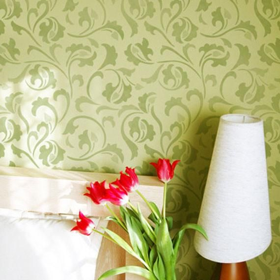 Scrollallover Wall Stencil | Wall stenciling, Stenciling and Kitchen ...